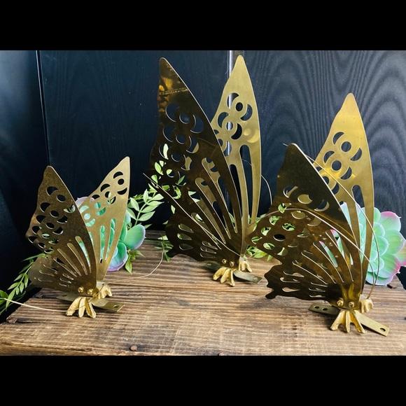 Vintage Brass Butterflies Three Wall Mountable